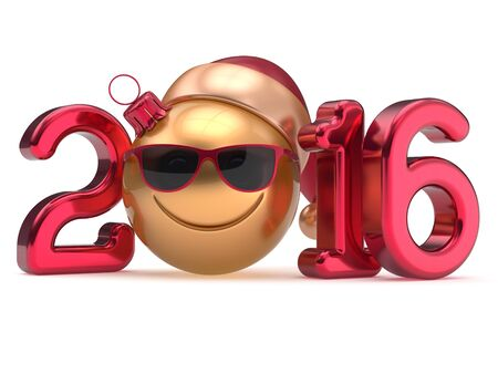 Happy New 2016 Years Eve calendar date smiley face emoticon bauble Christmas ball cartoon decoration Santa hat glasses person cute red gold. Merry Xmas cheerful smile laughing joy character 3d render Stock Photo