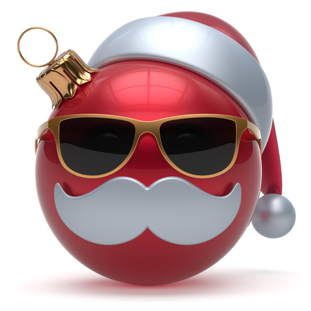 Christmas ball emoticon Happy New Years Eve bauble Santa Claus hat cartoon mustache face decoration cute red. Merry Xmas cheerful funny glasses person laughing character toy adornment. 3d render