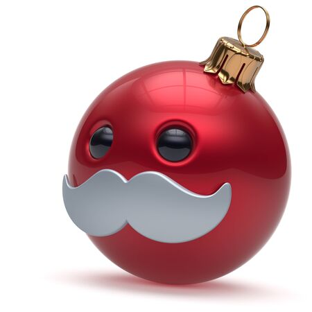 adornment: Christmas ball emoticon Happy New Years Eve bauble ornament cartoon mustache face decoration cute red. Merry Xmas cheerful funny person laughing character toy souvenir adornment concept. 3d render