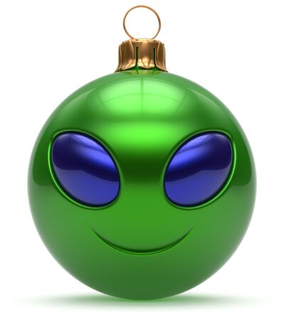 christmasball: Smiley alien face Christmas ball Happy New Years Eve bauble cartoon cute emoticon decoration green. Merry Xmas cheerful funny smile person character toy laughing eyes joy adornment concept. 3d render