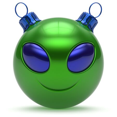 alien symbol: Christmas ball smiley alien face Happy New Years Eve bauble cartoon cute emoticon decoration green. Merry Xmas cheerful funny smile person character toy laughing eyes joy adornment concept. 3d render