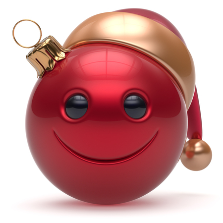 christmasball: Smiley face Christmas ball emoticon Happy New Years Eve bauble cartoon decoration cute red. Merry Xmas cheerful funny smile Santa hat joyful person laughing joy character toy adornment. 3d render