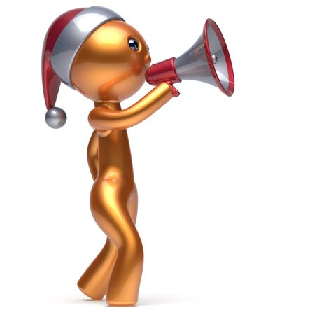 communication cartoon: Merry Christmas man golden speaking megaphone Santa Claus hat character New Years Eve holiday sale news communication announcement stylized human cartoon speaker person Xmas figure 3d render isolated Stock Photo