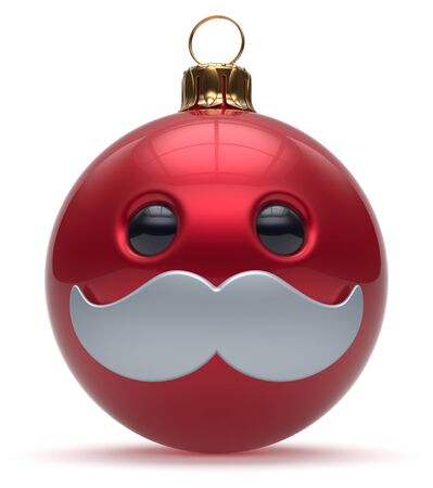 adornment: Christmas ball emoticon smiley mustache face New Years Eve cartoon bauble cute decoration red. Happy Merry Xmas cheerful funny person character laughing joyful adornment souvenir concept. 3d render