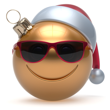 adornment: Christmas ball smiley face emoticon Happy New Years Eve bauble cartoon decoration cute golden. Merry Xmas cheerful funny smile Santa hat glasses person laughing joy character toy adornment. 3d render Stock Photo