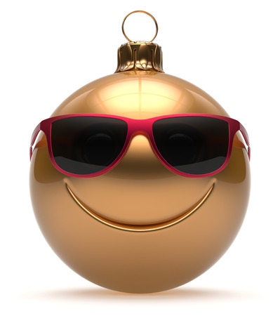 cartoon human: Smiley face Christmas ball emoticon Happy New Years Eve bauble cartoon cute decoration gold. Merry Xmas funny glasses smile person character toy laughing joyful adornment souvenir concept. 3d render