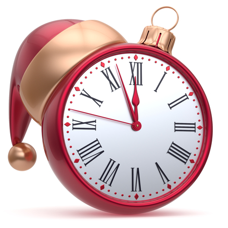 midnight hour: Alarm clock New Years Eve time midnight hour countdown Santa hat Christmas ball decoration bauble ornament golden. Traditional wintertime happy holidays beginning future symbol adornment. 3d render