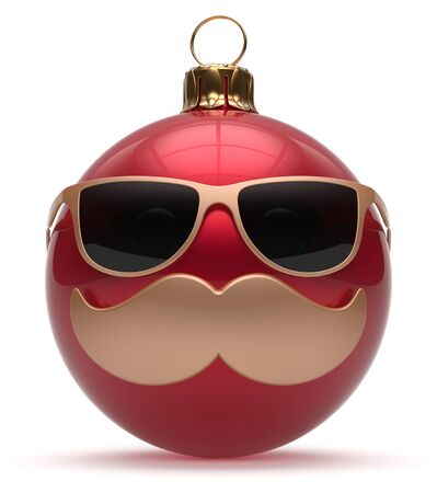 adornment: Christmas ball emoticon smiley mustache face New Years Eve cartoon bauble cute decoration red. Happy Merry Xmas funny glasses person character laughing joyful adornment souvenir concept. 3d render