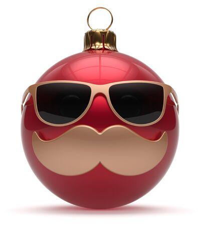 persona feliz: Eva chuchería historieta linda decoración bola roja emoticon Navidad cara sonriente bigote de Año Nuevo. Feliz Navidad vidrios divertidos persona personaje feliz riendo alegre concepto recuerdo adorno. 3d Foto de archivo