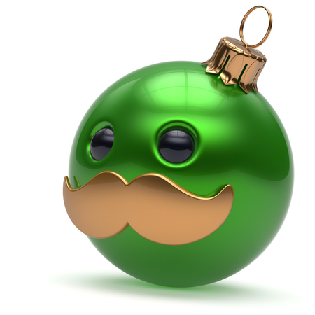 christmasball: Christmas ball emoticon Happy New Years Eve bauble ornament cartoon mustache face decoration cute green. Merry Xmas cheerful funny person laughing character toy souvenir adornment concept. 3d render