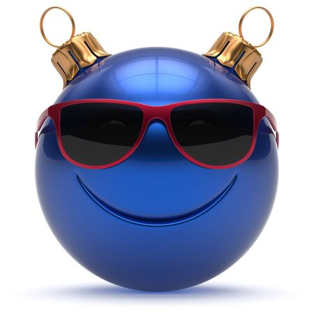 cheerful cartoon: Christmas ball smiley face Happy New Years Eve emoticon bauble cartoon cute decoration blue. Merry Xmas cheerful funny smile glasses person character toy laughing joyful adornment concept. 3d render