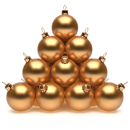 group of christmas baubles: Pyramid Christmas balls golden New Years Eve baubles group adornment decoration glossy spheres ornament. Happy Merry Xmas traditional wintertime holidays celebrate greeting card concept. 3d render Stock Photo