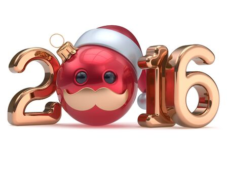 happy person: Christmas ball emoticon New Years Eve 2016 date bauble Santa Claus hat cartoon mustache face decoration red gold. Happy Merry Xmas cheerful funny person character toy souvenir adornment. 3d render Stock Photo