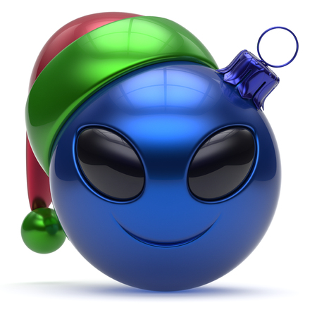 adornment: Emoticon christmas ball smiley alien face Happy New Years Eve bauble cartoon cute decoration blue. Merry Xmas cheerful funny smile Santa hat person character toy laughing eye joy adornment 3d render