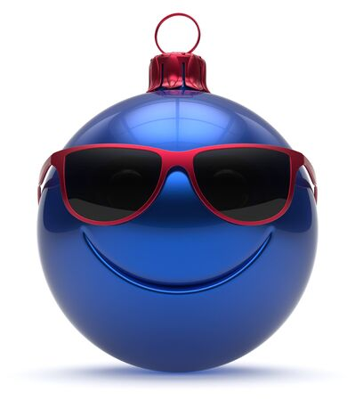 christmasball: Christmas ball emoticon smiley face Happy New Years Eve bauble cartoon cute decoration blue. Merry Xmas funny glasses smile person character toy laughing joyful adornment souvenir concept 3d render Stock Photo