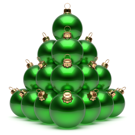 group of christmas baubles: Christmas balls pyramid New Years Eve green baubles group adornment decoration glossy spheres ornament. Happy Merry Xmas traditional wintertime holidays celebrate greeting card concept. 3d render