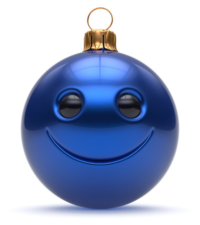 adornment: Christmas ball emoticon smiley face Happy New Years Eve cartoon bauble cute decoration blue. Merry Xmas cheerful funny smile person character toy laughing joyful adornment souvenir concept 3d render Stock Photo