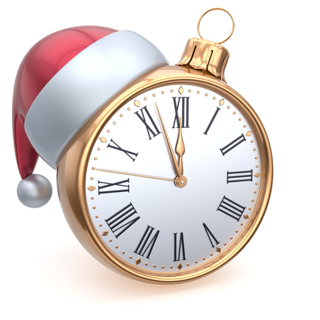 beginnings: Christmas ball alarm clock New Years Eve time midnight hour countdown Santa hat decoration bauble ornament golden. Traditional wintertime happy holidays beginning future symbol adornment. 3d render