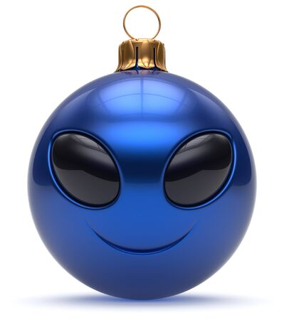 adornment: Christmas ball emoticon smiley alien face Happy New Years Eve bauble cartoon cute decoration blue. Merry Xmas cheerful funny smile person character toy laughing eyes joy adornment concept. 3d render Stock Photo
