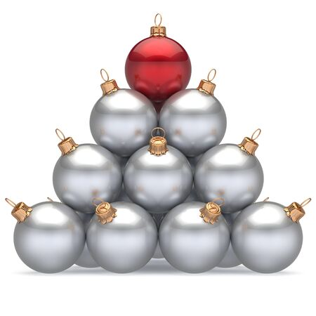 unique concept: Pyramid christmas balls white leader red on top first place winner New Years Eve baubles group decoration. Compare leadership hierarchy success Happy Merry Xmas wintertime business concept. 3d render