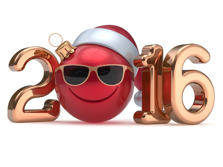 christmasball: New 2016 Years Eve calendar date smiley face emoticon bauble Christmas ball cartoon decoration Santa hat glasses person cute red gold. Happy Merry Xmas cheerful smile laughing joy character 3d render