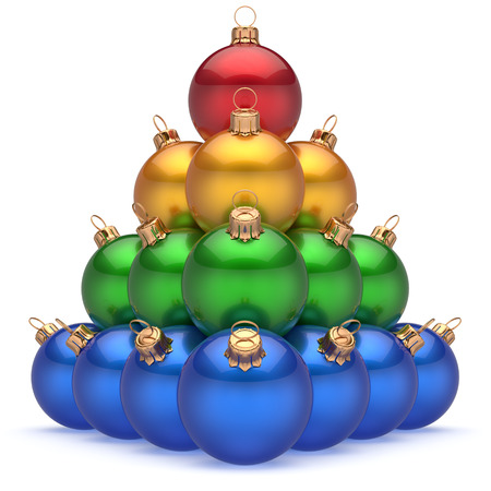 group of christmas baubles: Christmas ball colorful pyramid top red leader first place winner New Years Eve baubles group decoration. Compare leadership hierarchy success Happy Merry Xmas wintertime business concept. 3d render