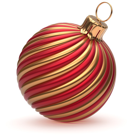 new ball: Christmas ball New Years Eve decoration golden red shiny convolution lines bauble wintertime hanging adornment souvenire. Traditional ornament happy winter holidays Merry Xmas symbol. 3d render Stock Photo