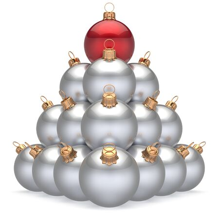 group of christmas baubles: Christmas ball white pyramid leader red on top first place winner New Years Eve baubles group decoration. Compare leadership hierarchy success Happy Merry Xmas wintertime business concept. 3d render