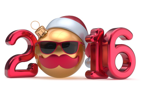 christmasball: New Year 2016 Christmas ball calendar date emoticon bauble happy Santa Claus hat cartoon mustache face decoration cute red gold. Merry Xmas funny glasses person character souvenir adornment. 3d render Stock Photo
