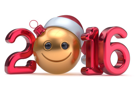 smiley: New 2016 Years Eve calendar date Smiley face emoticon bauble Christmas ball cartoon decoration golden red. Happy Merry Xmas cheerful funny smile Santa hat joyful person laughing character. 3d render Stock Photo