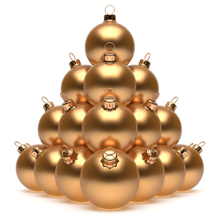 group of christmas baubles: Christmas balls pyramid New Years Eve golden baubles group adornment decoration glossy spheres ornament. Happy Merry Xmas traditional wintertime holidays celebrate greeting card concept. 3d render