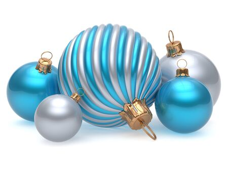 adornment: Christmas balls New Years Eve adornment decoration blue white silver shiny wintertime hanging baubles group. Traditional ornament happy winter holidays Merry Xmas luxury decor. 3d render isolated Stock Photo