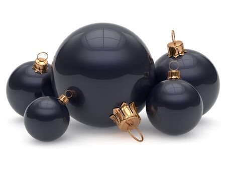 group of christmas baubles: Christmas ball adornment decoration glossy black New Years Eve shiny wintertime hanging baubles group. Traditional ornament happy winter holidays Merry Xmas classic decor. 3d render isolated