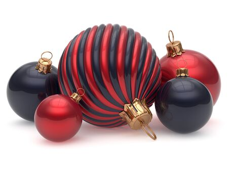 merrychristmas: Christmas balls New Years Eve adornment decoration red black shiny wintertime hanging baubles group contrast. Traditional ornament happy winter holidays Merry Xmas luxury decor. 3d render isolated