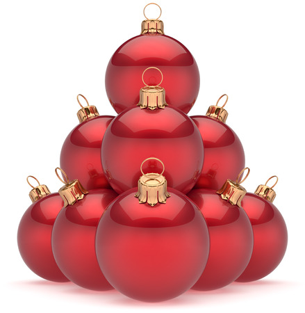 adornment: Christmas balls red pyramid New Years Eve baubles group adornment decoration glossy spheres ornament. Happy Merry Xmas traditional wintertime holidays celebrate greeting card concept. 3d render