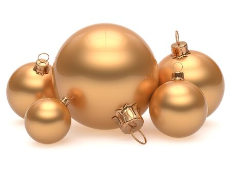 adornment: Christmas ball adornment decoration golden New Years Eve shiny wintertime hanging baubles group yellow. Traditional ornament happy winter holidays Merry Xmas classic decor gold. 3d render isolated