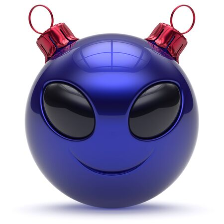 christmasball: Christmas ball alien face emoticon smiley Happy New Years Eve bauble cartoon cute decoration blue. Merry Xmas cheerful funny smile person character toy laughing eyes joy adornment concept. 3d render
