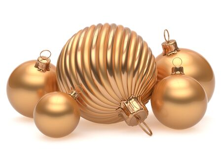 adornment: Christmas balls New Years Eve adornment decoration golden luxury yellow shiny wintertime hanging baubles group. Traditional ornament happy winter holidays Merry Xmas luxury decor. 3d render isolated