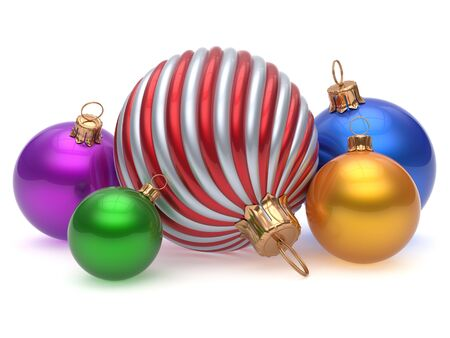 merrychristmas: Christmas balls New Years Eve adornment decoration multicolored colorful shiny wintertime hanging baubles group. Traditional ornament happy winter holidays Merry Xmas luxury decor. 3d render isolated Stock Photo