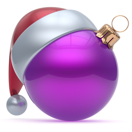adornment: Christmas ball ornament purple New Years Eve adornment bauble decoration blank. Happy Merry Xmas funny Santa Claus hat sphere emoticon wintertime traditional seasonal celebration souvenir. 3d render