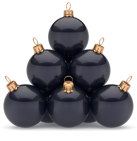 group of christmas baubles: Christmas ball pyramid black decoration New Years Eve baubles group adornment glossy spheres ornament. Happy Merry Xmas traditional wintertime holidays celebrate greeting card concept. 3d render