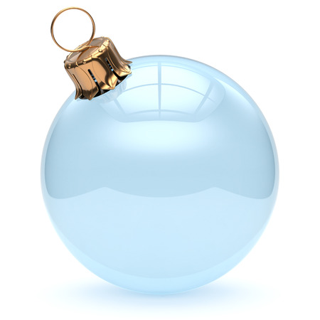happy 3d: Christmas ball glass empty clear blank adornment New Years Eve ornament translucent bauble decoration shiny polished. Happy Merry Xmas traditional wintertime celebration symbol. 3d render isolated Stock Photo