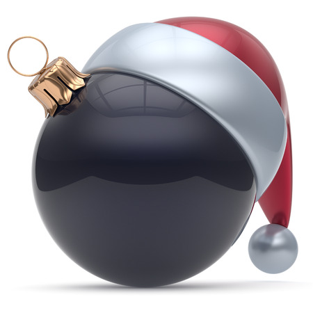 cartoon ball: Christmas ball ornament black New Years Eve adornment bauble decoration blank. Happy Merry Xmas funny Santa Claus hat sphere emoticon wintertime traditional seasonal celebration souvenir. 3d render