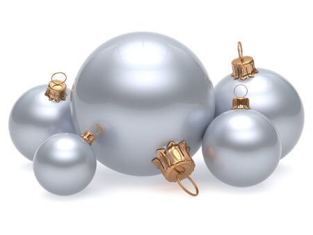 group of christmas baubles: Christmas ball adornment decoration white New Years Eve shine wintertime hanging baubles group silver. Traditional ornament happy winter holidays Merry Xmas classic decor chrome. 3d render isolated Stock Photo