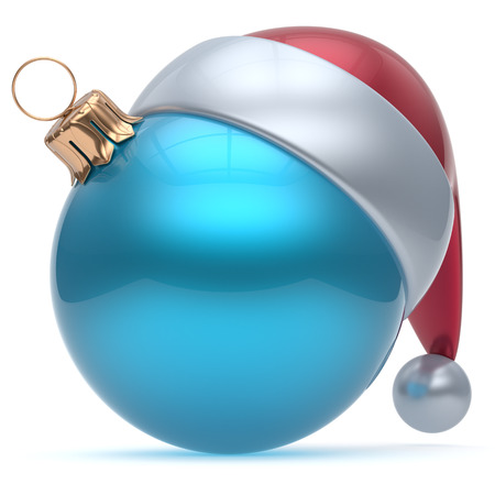 souvenir: Christmas ball ornament blue New Years Eve adornment bauble decoration blank. Happy Merry Xmas funny Santa Claus hat sphere emoticon wintertime traditional seasonal celebrate souvenir cyan. 3d render Stock Photo