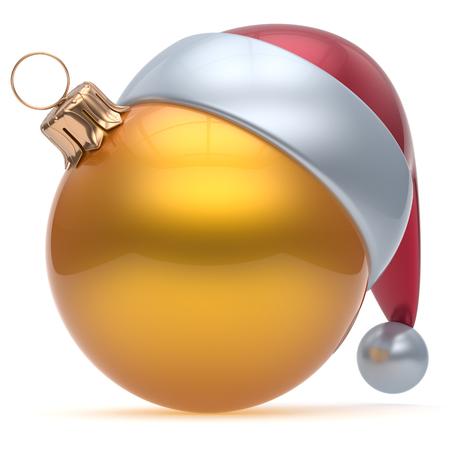 pelota caricatura: ornamento de la bola de Navidad de color amarillo la v�spera de A�o Nuevo chucher�a decoraci�n de adorno en blanco. Feliz Feliz Navidad divertido sombrero de Santa Claus esfera emoticono invierno tradicional celebraci�n estacional recuerdo. 3d