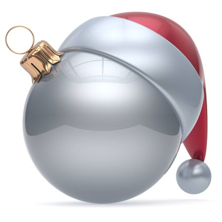 adornment: Christmas ball ornament white New Years Eve adornment bauble decoration blank silver. Happy Merry Xmas Santa Claus hat sphere emoticon wintertime traditional seasonal celebration souvenir. 3d render
