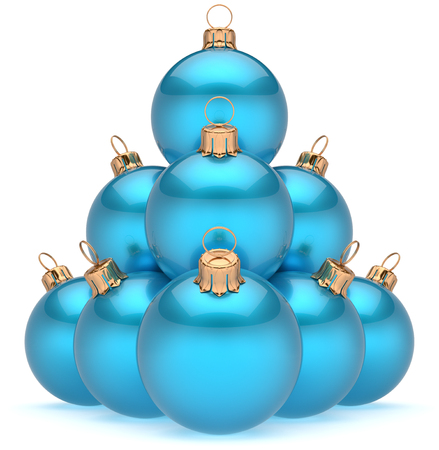 adornment: Christmas ball pyramid blue New Years Eve baubles group adornment decoration glossy spheres ornament cyan. Happy Merry Xmas traditional wintertime holidays celebrate greeting card concept. 3d render