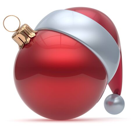 red sphere: Christmas ball ornament red New Years Eve adornment bauble decoration blank. Happy Merry Xmas funny Santa Claus hat sphere emoticon wintertime traditional seasonal celebration souvenir. 3d render
