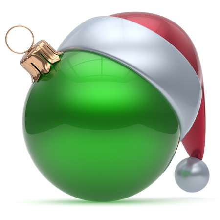 'christmas ball': Christmas ball ornament green New Years Eve adornment bauble decoration blank. Happy Merry Xmas funny Santa Claus hat sphere emoticon wintertime traditional seasonal celebration souvenir. 3d render
